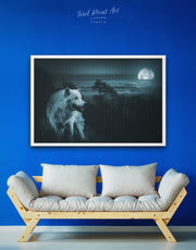 Framed Night Forest Wall Art Canvas