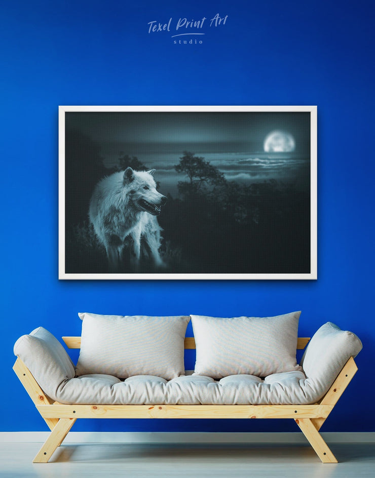 Framed Night Forest Wall Art Canvas - Animal bedroom framed canvas Living Room living room wall art
