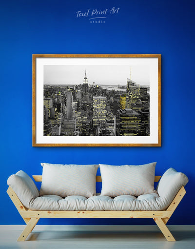 Framed Night New York City Wall Art Print - bedroom black and white wall art City Skyline Wall Art Cityscape framed print