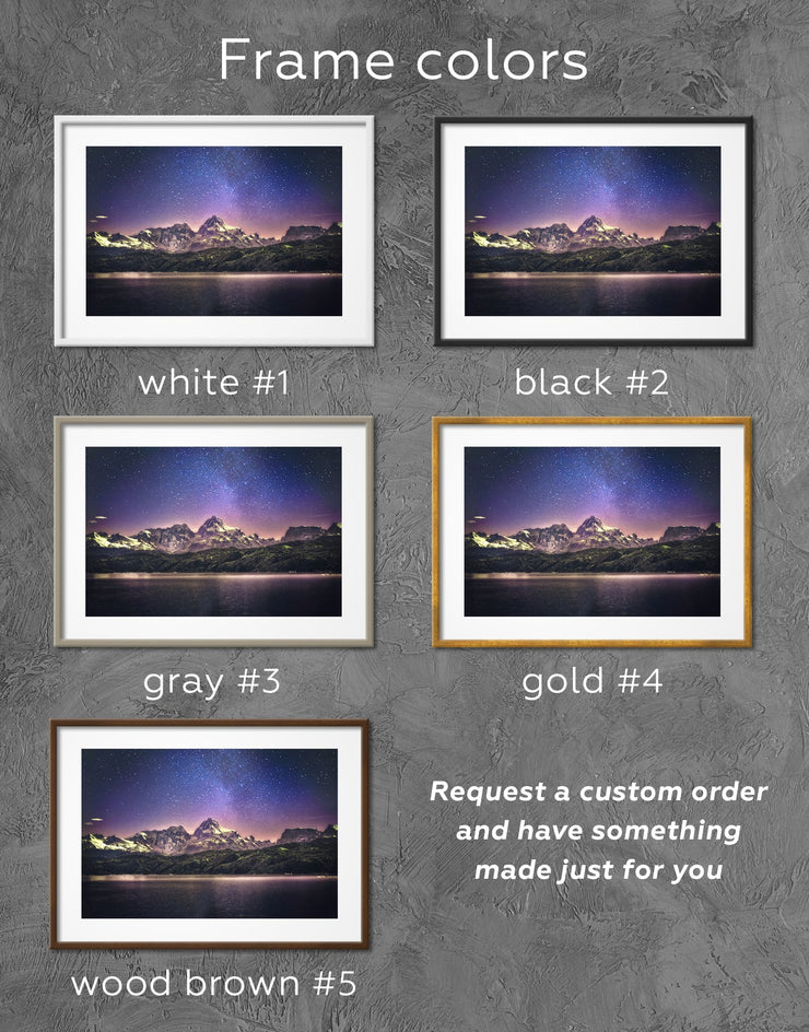 Framed Night Sky Wall Art Print - bedroom framed print landscape wall art Living Room living room wall art