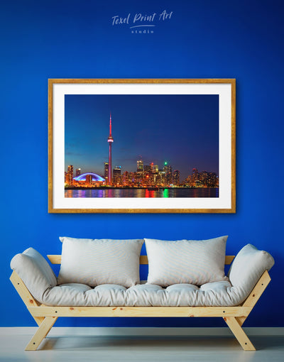 Framed Night View of Toronto Wall Art Print - framed print