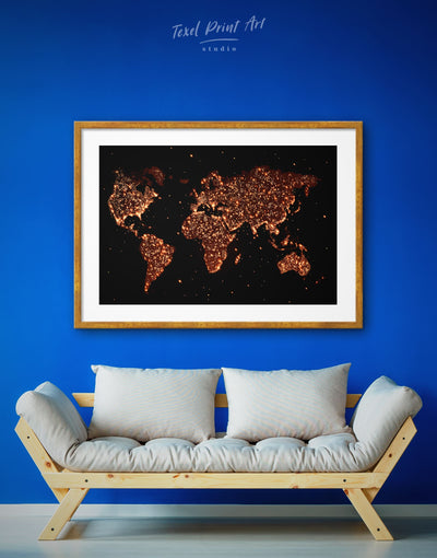 Framed Night World Map Wall Art Print - Abstract map bedroom black framed print framed world map print