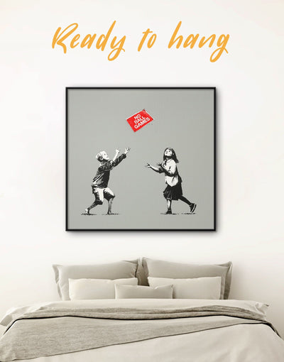 Framed No Ball Games by Banksy Wall Art Canvas - Banksy bedroom Black framed canvas Graffiti