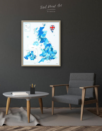 Framed Northern Ireland Land Map Wall Art Canvas - bedroom Blue Country Map framed canvas Hallway