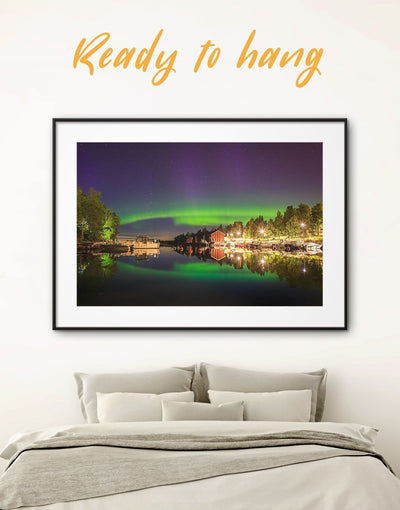 Framed Northern Lights Nature Wall Art Print - aurora borealis wall art bedroom Blue Cityscape Dining room