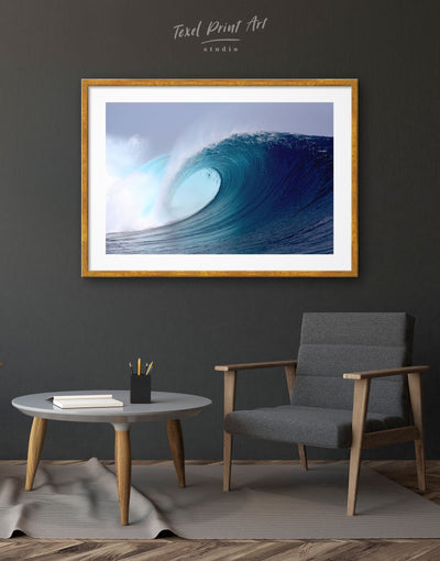 Framed Ocean Wave Wall Art Print - Beach House beach wall art beach wall art for bathroom bedroom Blue