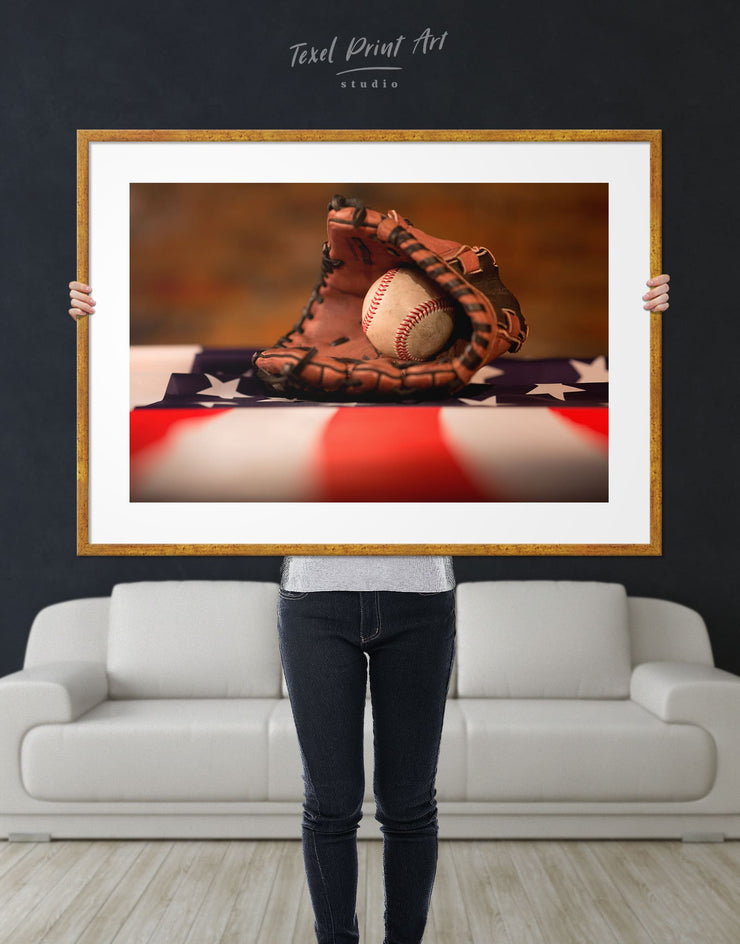 Framed Old Baseball Wall Art Print - bachelor pad baseball baseball wall art framed print Living Room