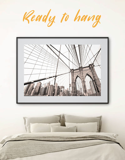 Framed Old Brooklyn Bridge Wall Art Print - bedroom Bridge Brooklyn bridge wall art City Skyline Wall Art Cityscape