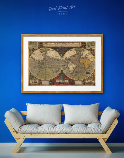 Framed Old World Map Wall Art Print - Antique Antique world map canvas bedroom Brown double hemisphere world map