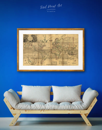 Framed Old World Map Wall Art Print - Antique world map canvas bedroom Brown framed print framed world map print