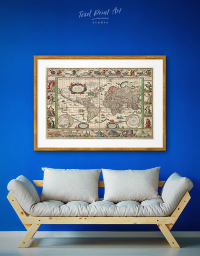 Framed Old World Map Wall Art Print - Antique Antique world map canvas bedroom framed print framed world map print