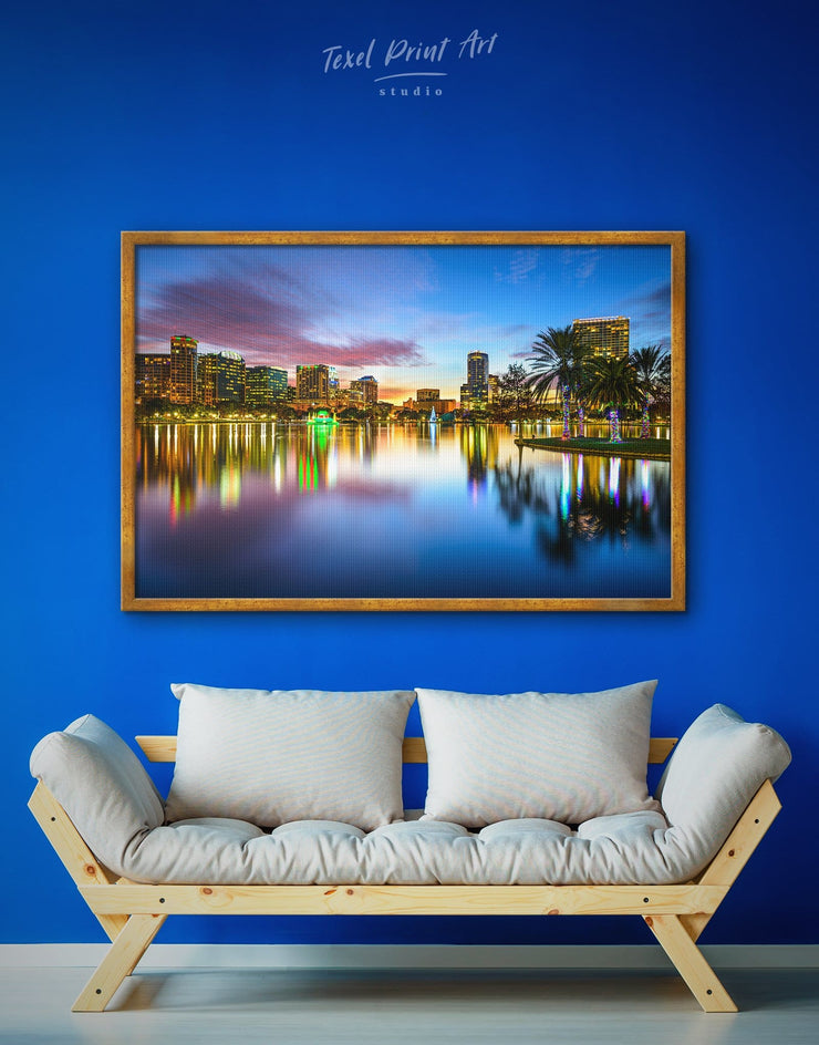 Framed Orlando Skyline Wall Art Canvas - bedroom City Skyline Wall Art Cityscape Dining room dining room wall art