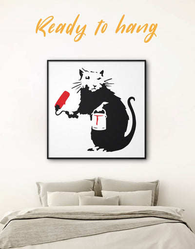 Framed Paint Roller Rat Banksy Graffiti Wall Art Canvas - Banksy banksy wall art Black black and white wall art Contemporary