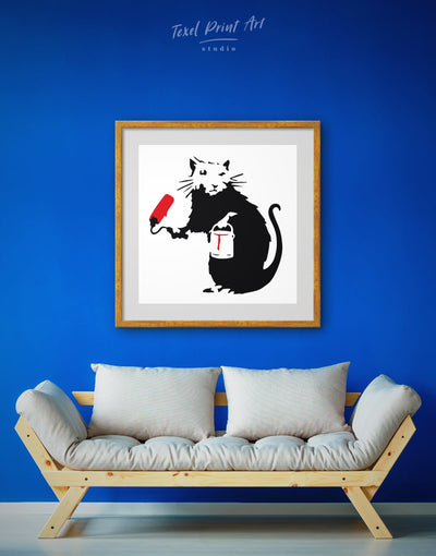 Framed Paint Roller Rat Banksy Street Wall Art Print - Banksy banksy wall art Black black and white wall art Contemporary