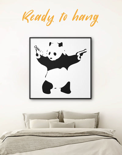 Framed Panda with Guns by Banksy Wall Art Canvas - Banksy banksy wall art Black black and white wall art Contemporary