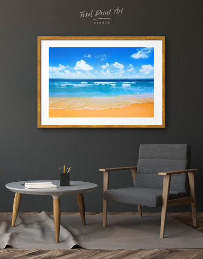 Framed Paradise Beach Wall Art Print - Beach House beach wall art beach wall art for bathroom bedroom Blue