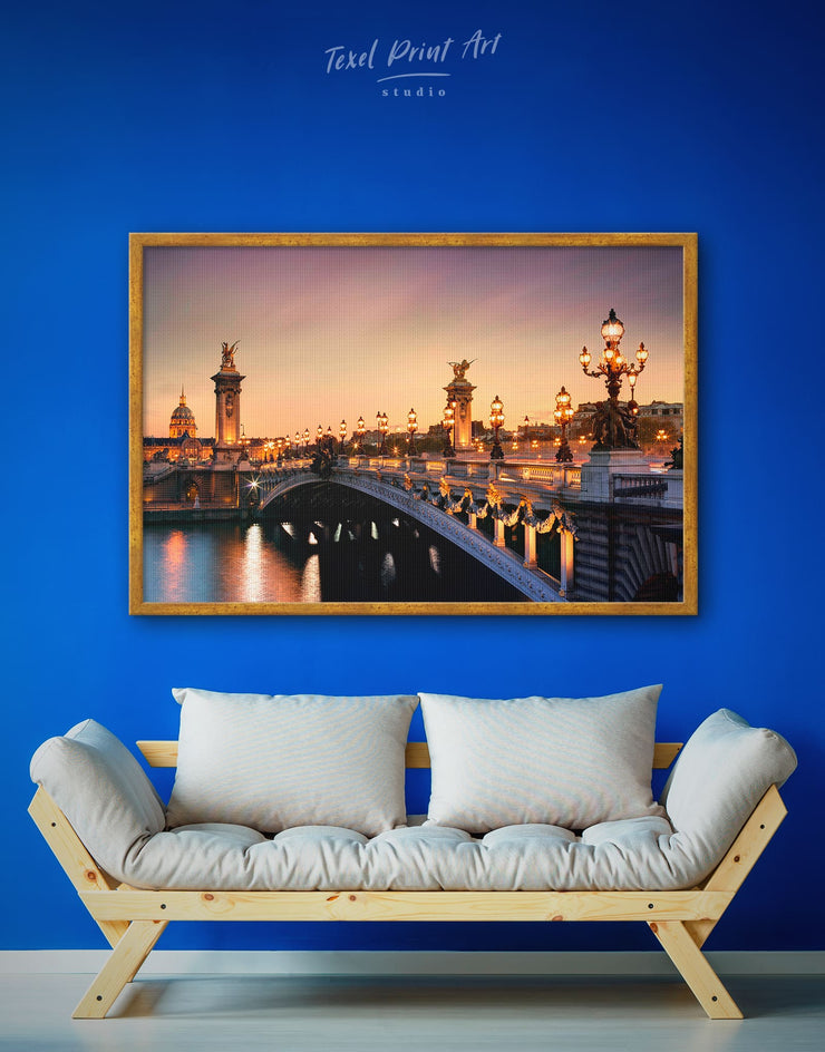 Framed Paris Bridge Wall Art Canvas - Bridge Dining room framed framed canvas Hallway