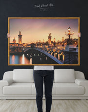 Framed Paris Bridge Wall Art Canvas