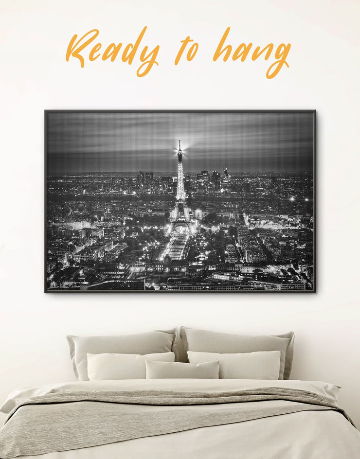 Framed Paris Skyline Wall Art Canvas - bedroom black and white framed wall art black and white wall art Cityscape eiffel tower wall art