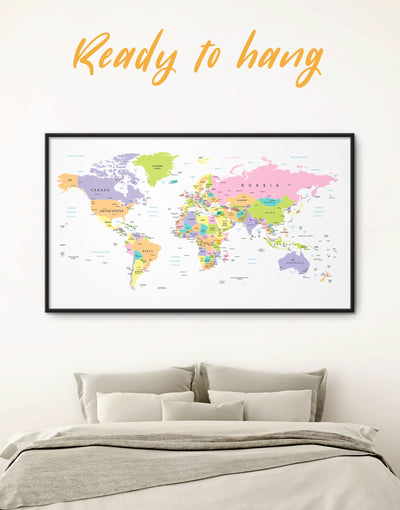 Framed Pastel World Map Wall Art Canvas - framed canvas framed world map canvas Hallway Living Room pink