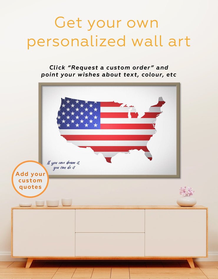 Framed Patriotic USA Map Wall Art Canvas - bedroom Country Map Country Wall Art for Living Room Flag Wall Art framed canvas