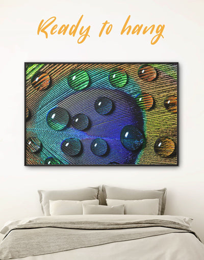 Framed Peacock Feather Close Up Wall Art Canvas - Abstract bedroom Blue blue and green wall art Feather Wall Art