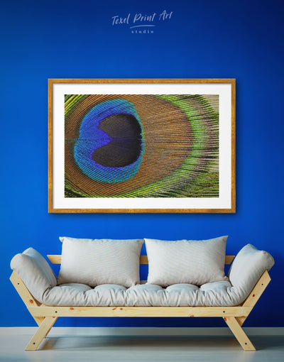 Framed Peacock Feather Wall Art Print - Abstract bedroom bird wall art blue and green wall art Feather Wall Art