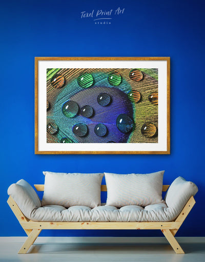 Framed Peacock Feather Wall Art Print - Abstract bedroom Blue blue and green wall art Feather Wall Art