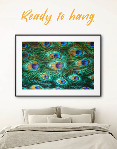 Framed Peacock Feather Wall Art Print - Abstract bedroom Feather Wall Art framed print framed wall art