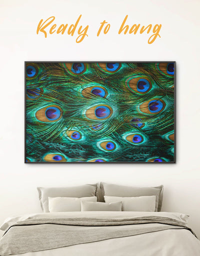Framed Peacock Feathers Wall Art Canvas - Abstract bedroom Feather Wall Art framed canvas framed wall art