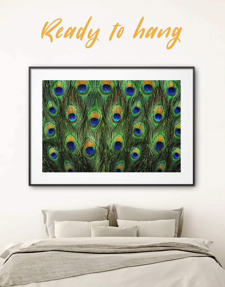 Framed Peacock Feathers Wall Art Print - Abstract bedroom framed print framed wall art Green