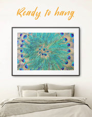 Framed Peacock Teal Feathers Wall Art Print