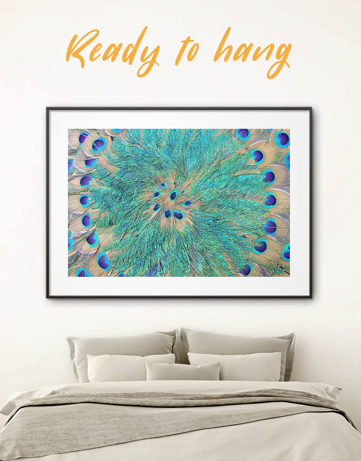 Framed Peacock Teal Feathers Wall Art Print - Abstract Blue Abstract Wall art Blue wall art for living room Feather Wall Art framed print