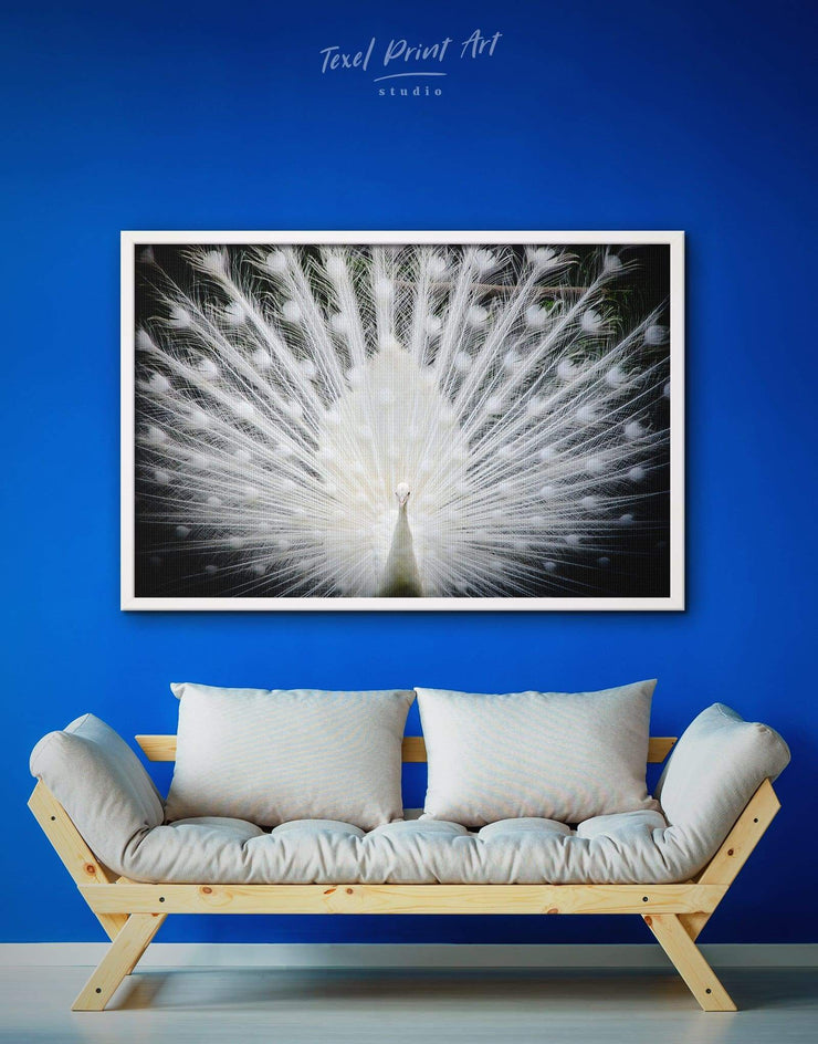 Framed Peafowl Wall Art Canvas - Abstract bedroom framed canvas framed wall art Living Room