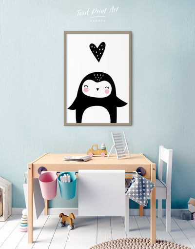 Framed Penguin Nursery Decor Canvas - Canvas Wall Art Black black and white framed canvas Kids room kids wall art