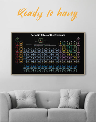 Framed Periodic Table of Elements Wall Art Canvas - bedroom Black framed canvas Hallway Living Room