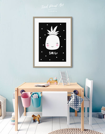Framed Pineapple Nursery Decor Kids Wall Art Print - Wall Art black black and white framed print Kids room kids wall art