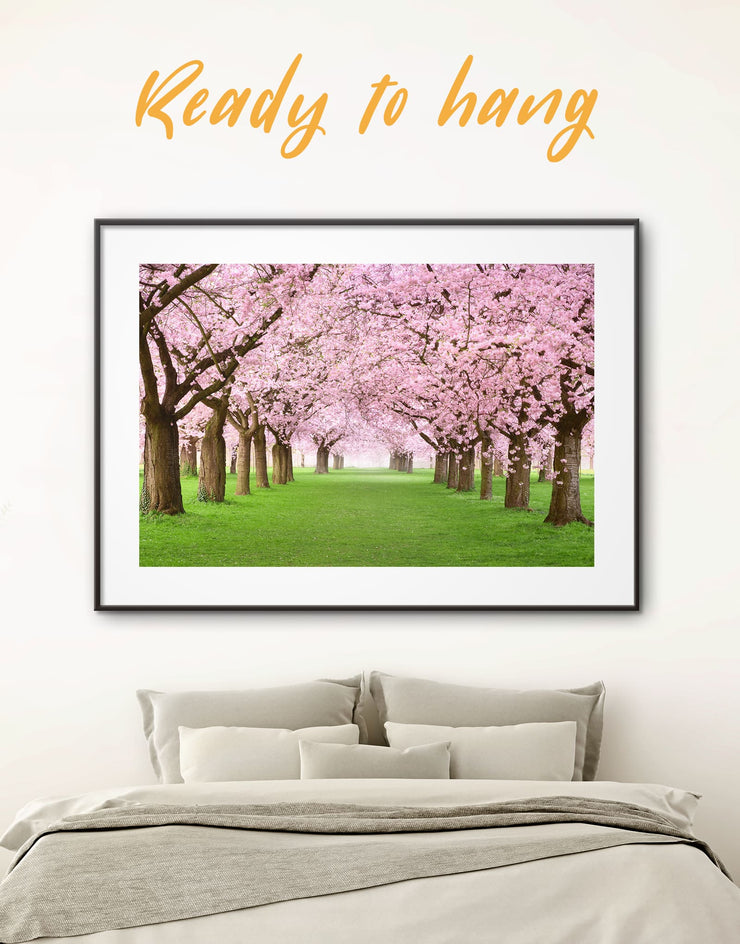 Framed Pink Cherry Blossom Wall Art Print - bedroom cherry blossoms wall art framed print framed wall art landscape wall art