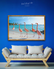 Framed Pink Flamingo Wall Art Canvas