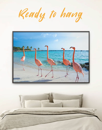 Framed Pink Flamingo Wall Art Canvas - Animal Beach House beach wall art beach wall art for bathroom bedroom