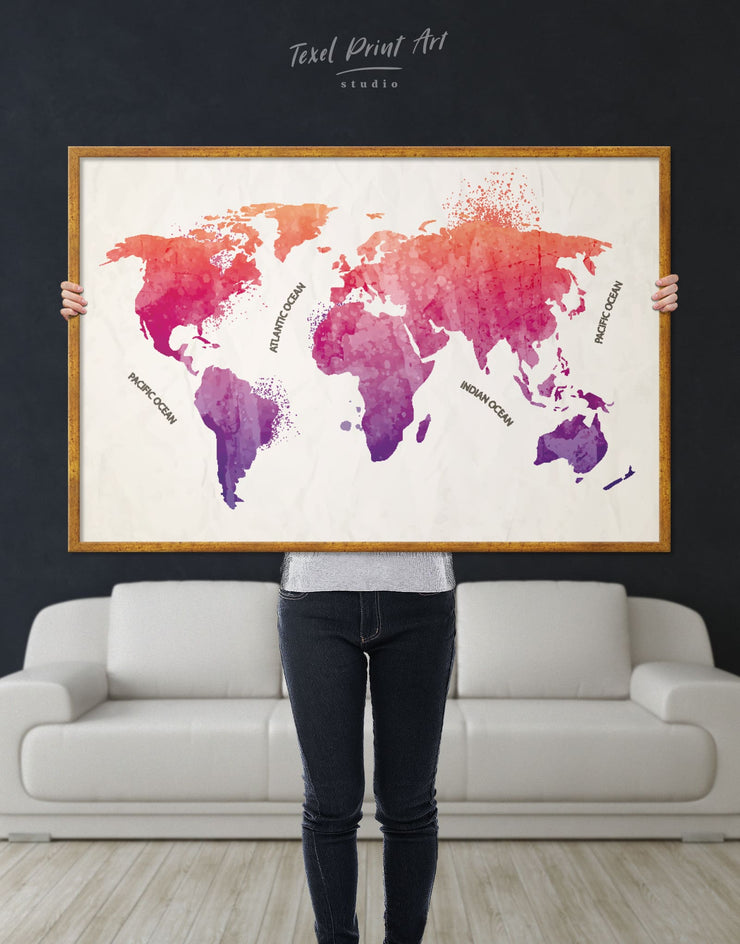Framed Pink Modern World Map Wall Art Canvas - Abstract map bedroom framed canvas Living Room Office Wall Art