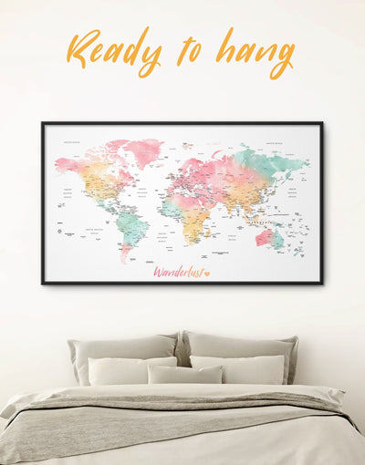 Framed Pink Push Pin World Map Wall Art Canvas - bedroom Bright colored contemporary wall art framed canvas framed wall art