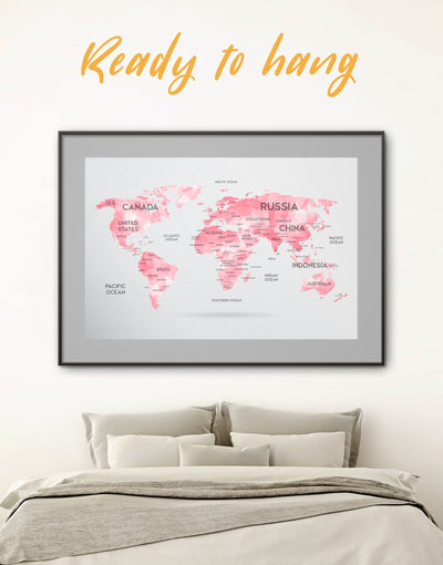 Framed Pink World Map Wall Art Print - Abstract Abstract map abstract world map wall art bedroom Contemporary