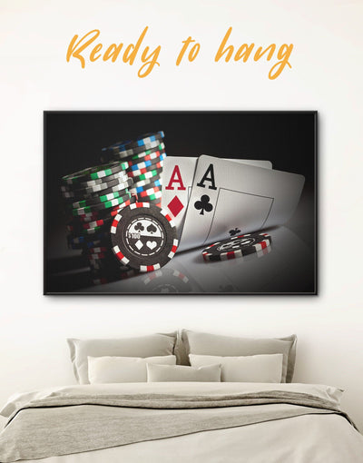 Framed Poker Room Wall Art Canvas - framed canvas game room Hallway Living Room Poker