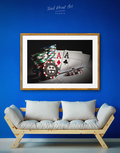 Framed Poker Wall Art Print - framed print game room Hallway Living Room Poker
