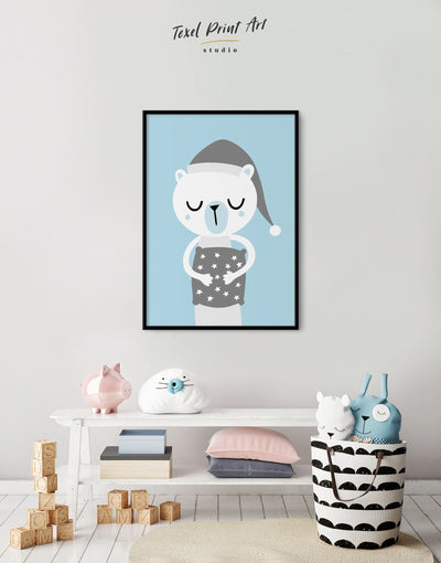 Framed Polar Bear Nursery Art Baby Wall Decor Canvas - Canvas Wall Art blue framed canvas Kids room kids wall art Nursery