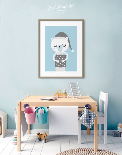 Framed Polar Bear Nursery Art Baby Wall Decor Print - Wall Art blue framed print Kids room kids wall art Nursery