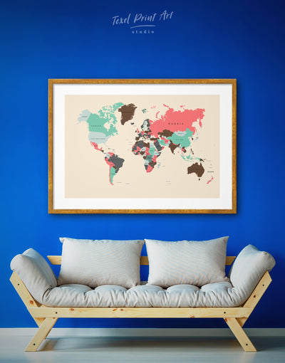 Framed Political World Map Wall Art Print - Abstract Abstract map bedroom brown framed print