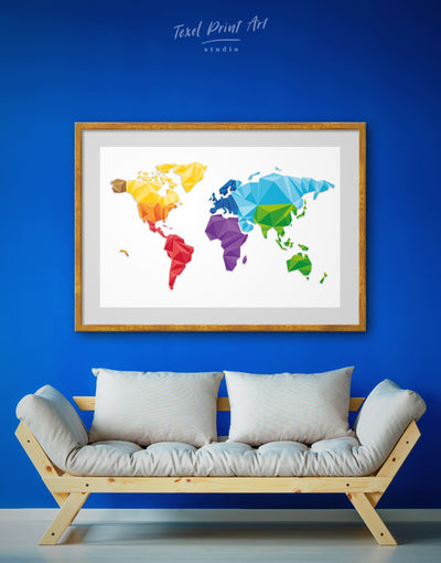 Framed Polygonal Map Of The World Wall Art Print - Abstract map framed print framed world map print geometric world map Living Room