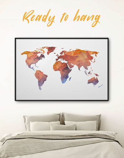 Framed Polygonal World Map Wall Art Canvas - Abstract map corkboard framed framed canvas framed map wall art